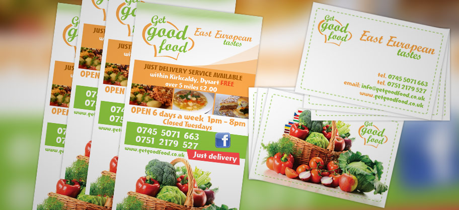 Get Good Food - A4 Flyers, business cards