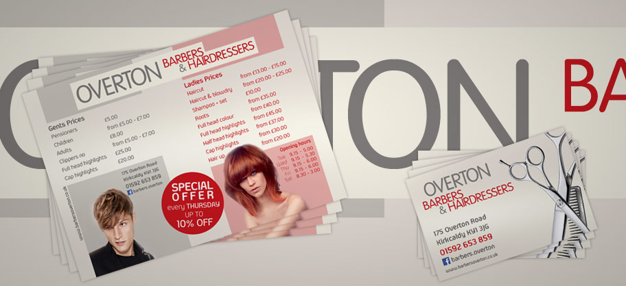Overton barber - Poster, A5 Flyers, Business cards, Loyalty cards